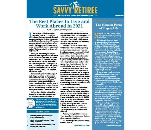The Savvy Retiree – January 2021
