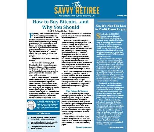 The Savvy Retiree – February 2021